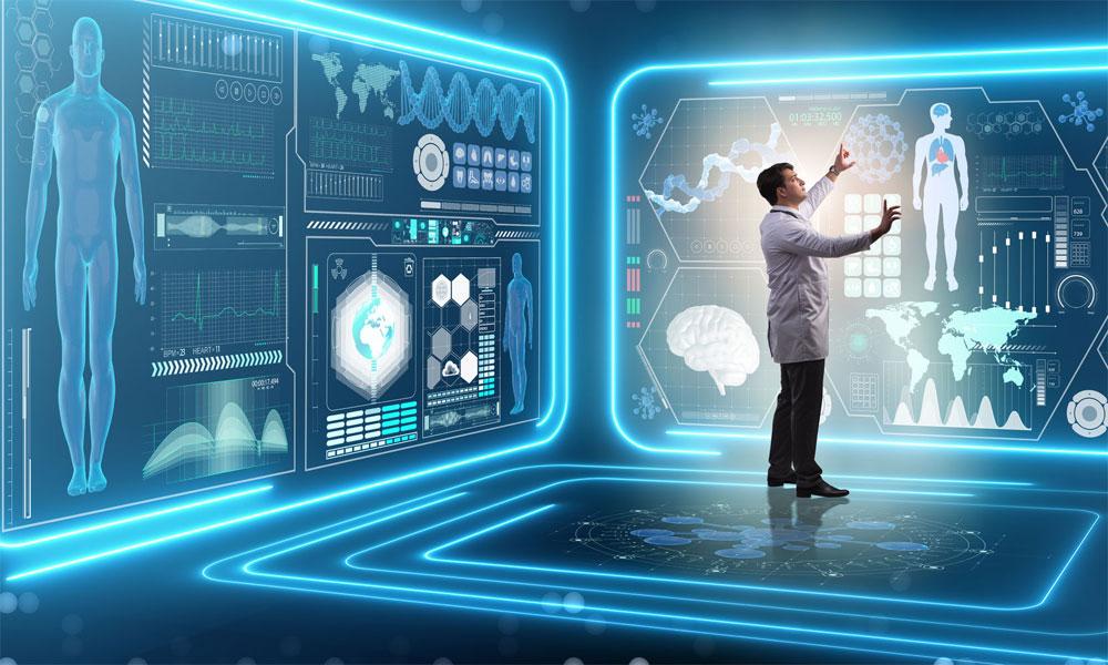 پزشک در حال استفاده از هوش مصنوعی