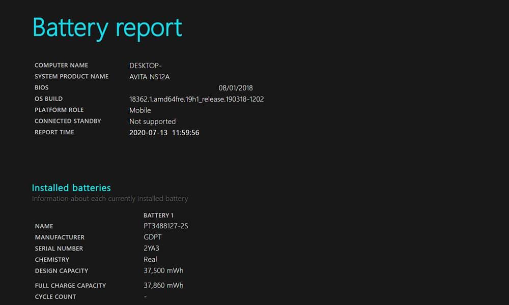 گزارش وضعیت باتری لپ تاپ