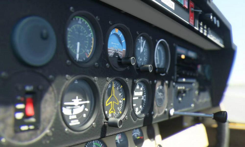 تصویر فضای داخلی هواپیما در برنامه شبیه ساز پرواز مایکروسافت