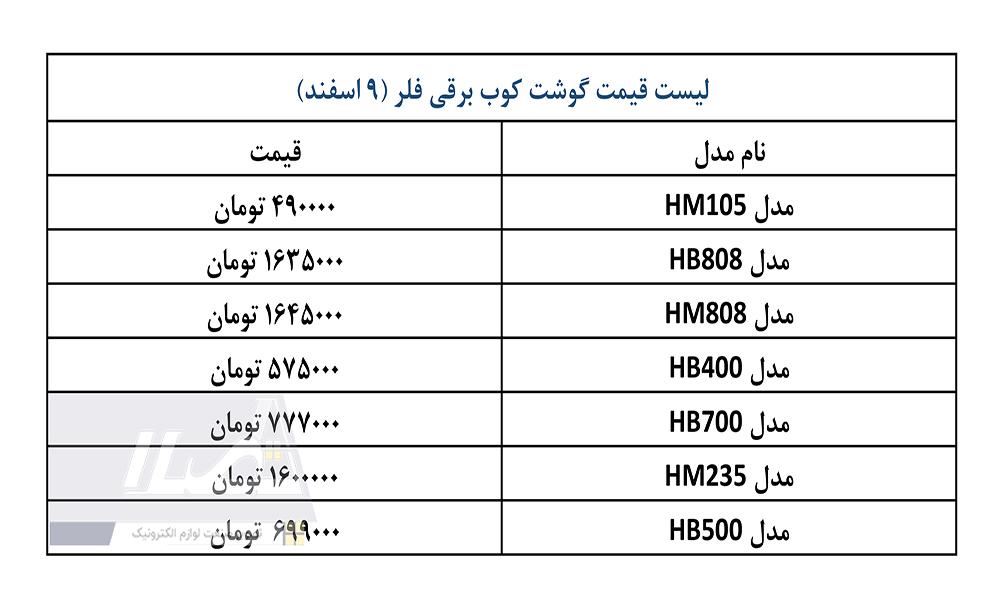 قیمت گوشی برقی