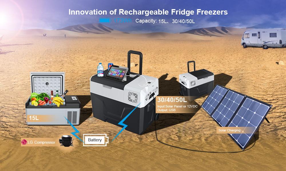 تصویر یخچال خودرو با پنل خورشیدی