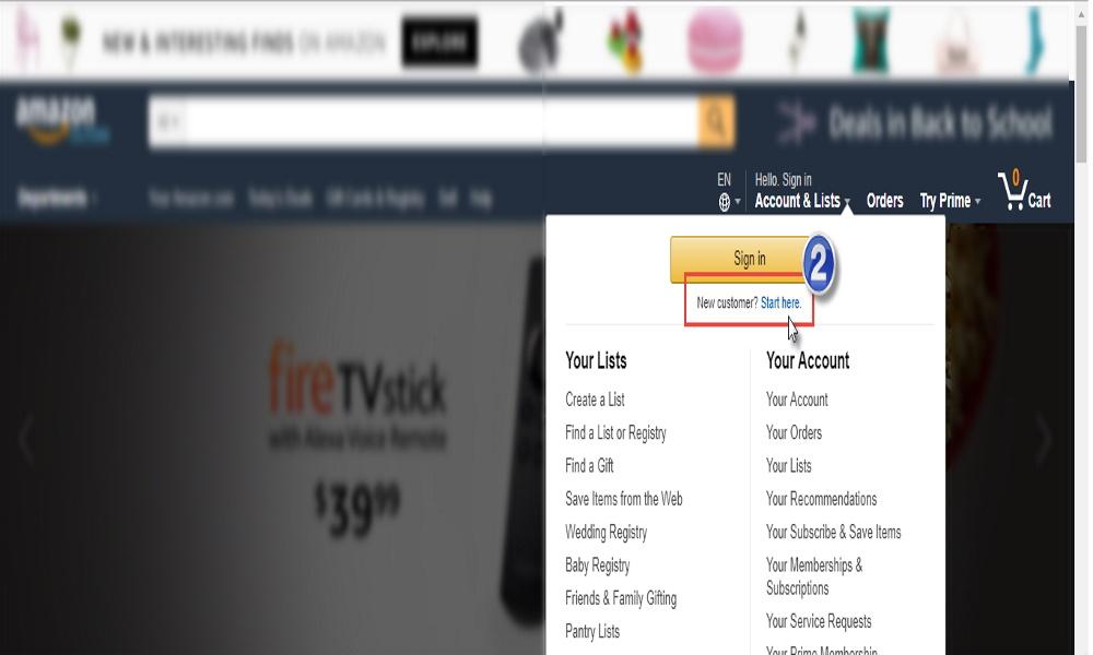 1 ایجاد حساب کاربری در سایت آمازون